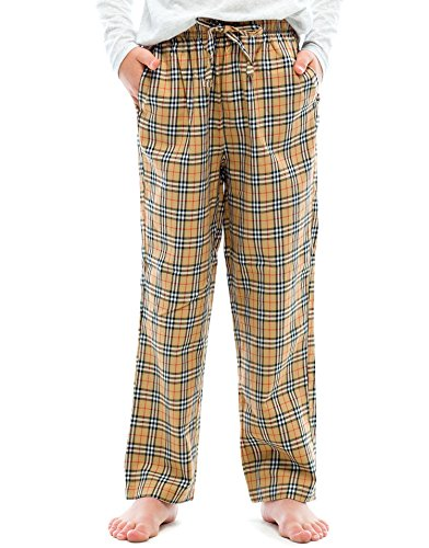 TINFL Boys Plaid Check Soft 100% Cotton Lounge Pants BP-60-Brown-YL