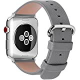 15 Colors for Apple Watch Bands 38mm, Fullmosa Yan Calf Leather Replacement Band/Strap with Stainless Steel Clasp for iWatch Series 0 1 2 3 Sport and Edition Versions 2015 2016 2017, 38mm Grey