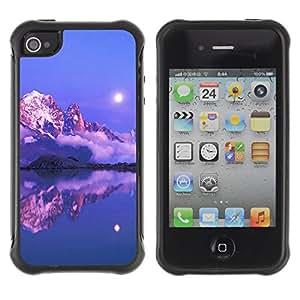 Pulsar Defender Series Tpu silicona Carcasa Funda Case para Apple iPhone 4 / iPhone 4S , Nature Pink Sunset Mountain