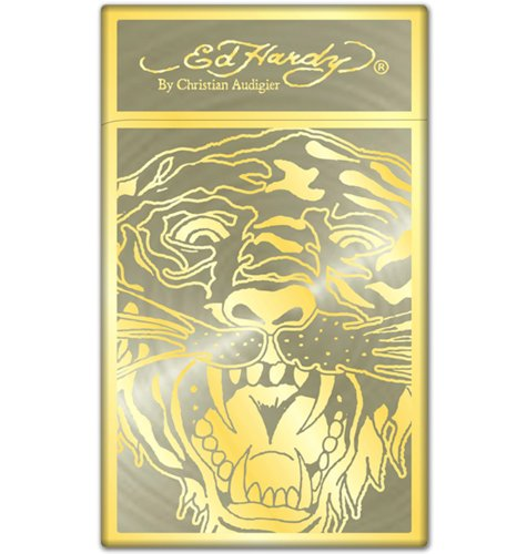 Ed Hardy Lighter TIGER GOLD Enzo Collection Torch Refillable Engraved Flip-top Flint Limited Edition (124) - Enzo Collection