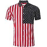 Men Long Shirt,Men's Striped American Flag Stars Splicing Short Sleeve Top Shirt Blouse,Men's Big & Tall Shirts,Red,M