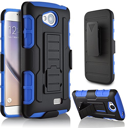 LG Transpyre Case, LG Tribute Case, LG Optimus F60 Case, Starshop Dual Layers with Kickstand and Locking Belt Clip With Screen Protector Blue