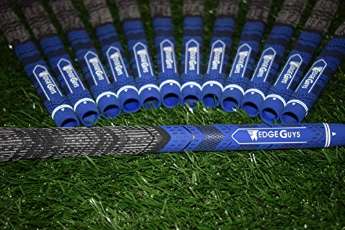 Wedge Guys Hybrid MM Golf Grips - Set of 13 Corded Moisture Wicking All-Weather Performance Golf Club Grip Replacement for Custom Regripping of Clubs Wedges Drivers Irons & More (Blue)