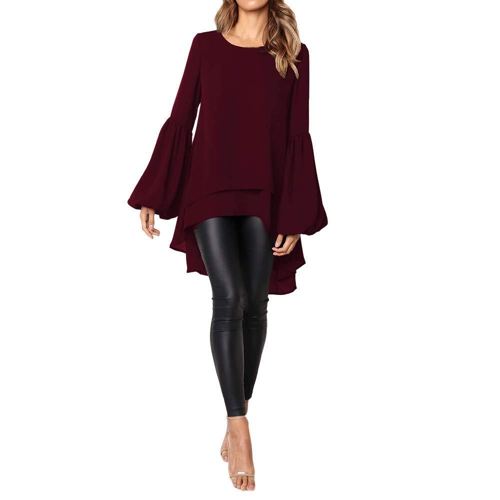Wobuoke Women Autumn Loose Long Puff Sleeve Irregular Ruffles Hem Solid Pullovers Tops Blouse