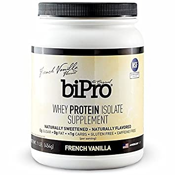 BiPro 100% Whey Protein Isolate, 1lb., French Vanilla, All Natural, Sugar-Free, Lactose-free, Gluten-free, 90 calories