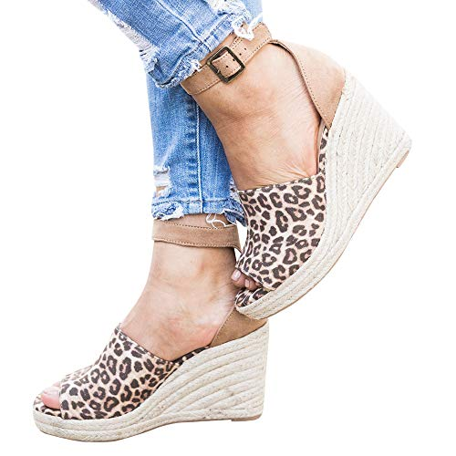 1d17dfc677b Enjoybuy Womens Summer Espadrille Wedge Sandals Peep Toe Suede ...