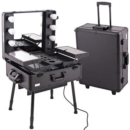 Estación de salón de belleza portátil, carrito de maquillaje o manicura, con maletín, espejo, luces: Amazon.es: Hogar