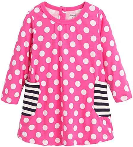 648873ee516 Frogwill Girls Long Sleeve Casual Dress Dots Heart Printed Jersey Top 2-7Y