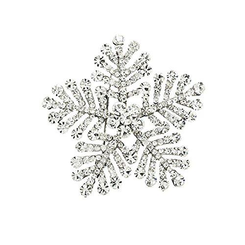 Swarovski Snowflake Pin - Bling Stars Vintage Silver Tone Christmas Snowflake Rhinestone Swarovski Element Crystal Wedding Brooch Pin
