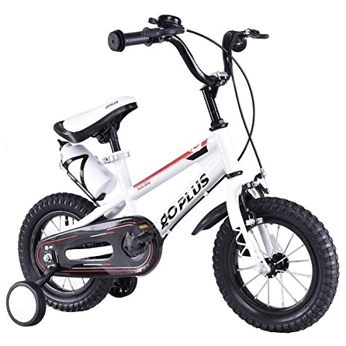Goplus Freestyle Kids Bike Bicycle 12inch/ 16inch/ 20inch Balance Bike with Training Wheels for Boy's and Girl's (White, 16-inch)