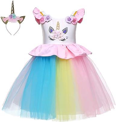 Amazon.com: LZH Vestido de unicornio para bebé, con lazo ...