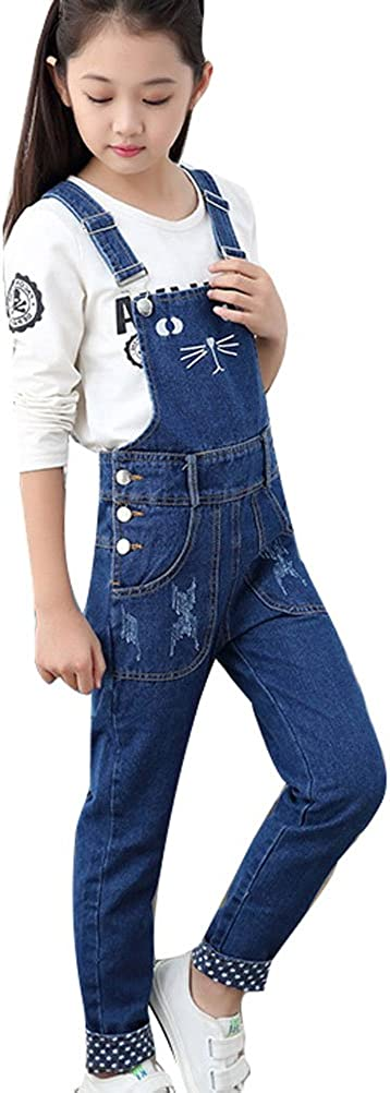 Fit Height 140-145cm Soojun Girls Cute Embroidered Denim Overalls Casual Bib Overalls Blue
