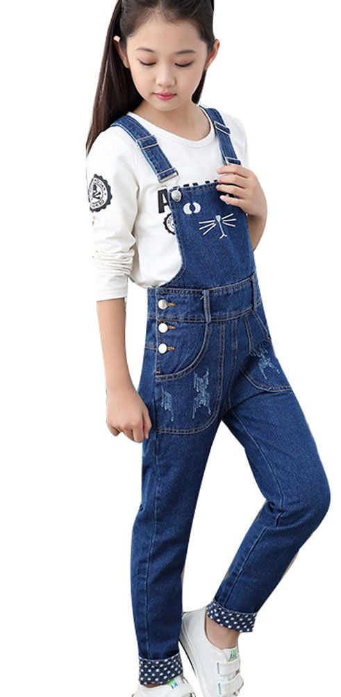Soojun Girls Cute Embroidered Denim Overalls Casual Bib Overalls, Blue, Fit height 140-145cm