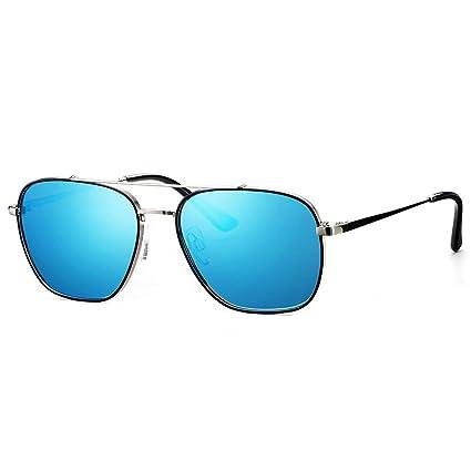 46e08a43bb Avoalre Gafas de Sol Aviador Gafas Polarizadas Hombre Azul de Moda de Estilo  Espejo Cuadrada UV400
