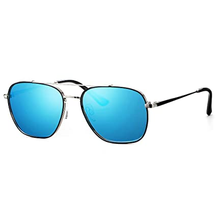 cec7a74622 Avoalre Gafas de Sol Aviador Gafas Polarizadas Hombre Azul de Moda de  Estilo Espejo Cuadrada UV400