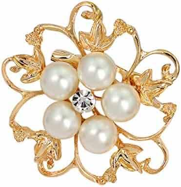 75e4dea4a XYanXXX Fashion Brooch Pins,Faux Pearl Rhinestone Hollow Flower Design Enamel  Badge Lapel Pin Costume