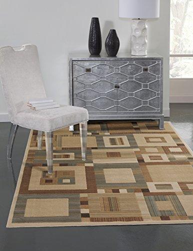 SI Area Rugs 7007 Sonoma Machine Made Area Rug, 5-Feet 3-Inch by 7-Feet 6-Inch, Beige/Tan/Aqua/Rust