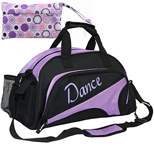 kilofly Girl's Ballet Dance Sports Gym Duffel Bag Travel Carry On + Handy Pouch (Zipper Dance)