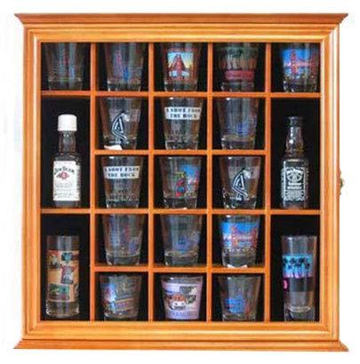 21 Shot Glass Shooter Display Case Holder Rack Wall Cabinet, Glass Door, SC01 (Oak Finish)