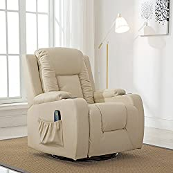 ComHoma Massage Recliner Chair Heated Modern Rocker Ergonomic Lounge 360 Degree Swivel Single Sofa Seat with Drink Holders Living Room Chair Leather White