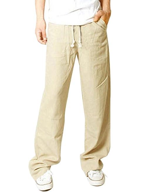 more photos 59e2f cdd43 Quge Pantaloni Uomo Casual Pantalone di Lino Traspirante Vita Elastica per  Corso Spiaggia Outdoor