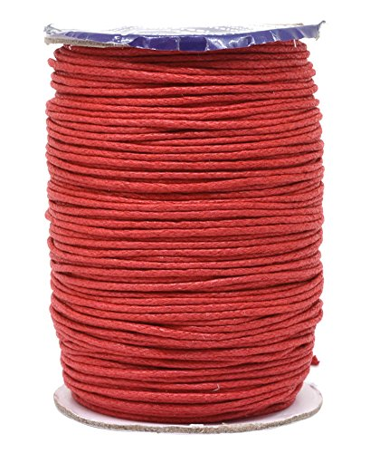 Mandala Crafts 1.5mm 109 Yards Jewelry Making Beading Crafting Macramé Waxed Cotton Cord Rope (Red)
