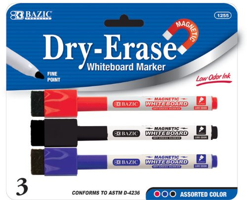 BAZIC Assorted Color Magnetic Dry-Erase Markers (3/Pack) Case Pack 144 Computers, Electronics, Office Supplies, Computing by DDI
