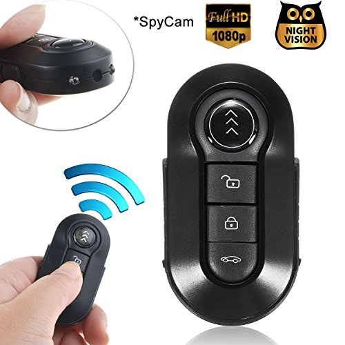 Bysameyee Car Key Spy Cam Full HD 1080P Remote Control Video Camcorder Mini Keychain Camera Hidden Recorder with Night Vision Motion Detection – Black Metal Body - Metal Compact Camcorders