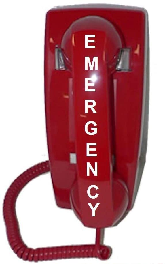 Emergency Wall Telephone Pre-programmed to Auto Dial 911 - RED