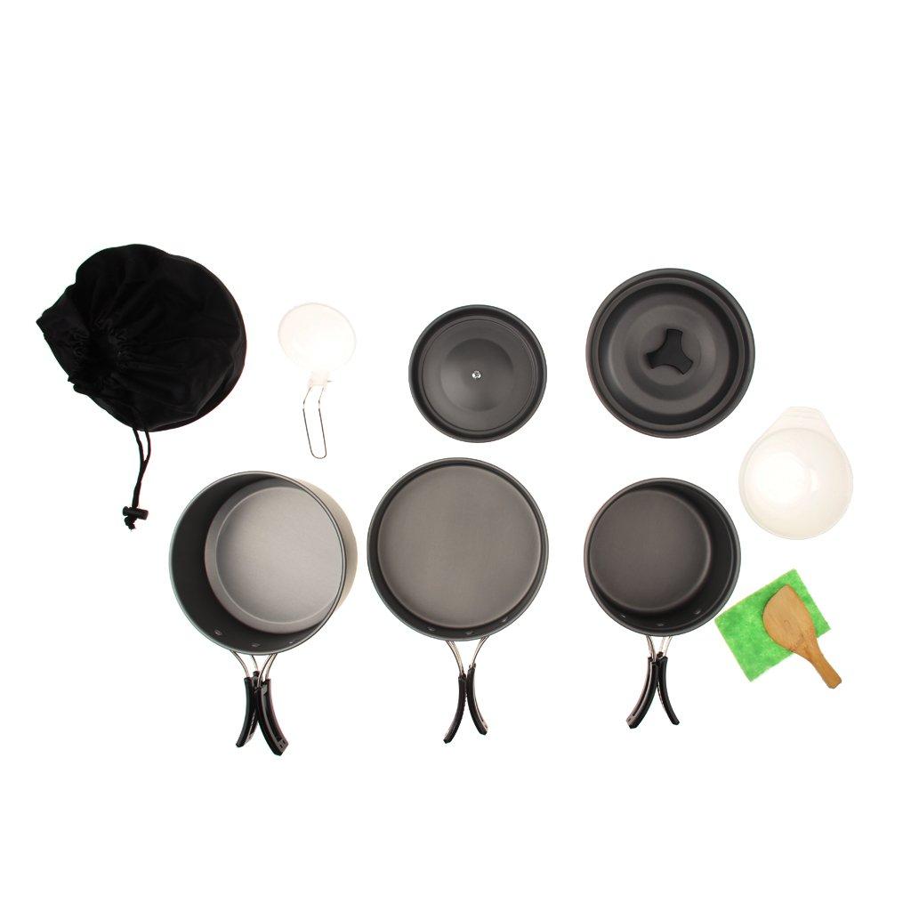 MagiDeal Set de Po/êle Casserole Portable en Aluminium Anodis/é pr Camping Cuisine