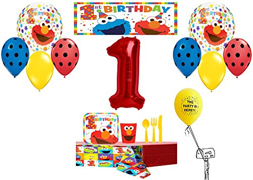 - Elmo Happy 1st Birthday Party Pack for 8 Guests