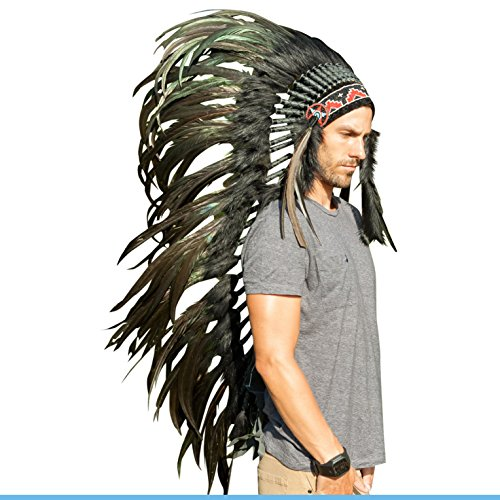 [Extra Long Feather Headdress- Native American Indian Inspired- Handmade Halloween Costume for Men Women with Real Feathers - Super Black] (Extra Head Costume)