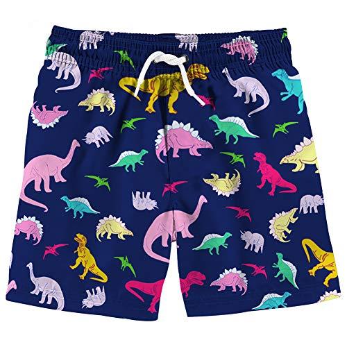 BFUSTYLE 9T Boy Girl Child Dinosaur Dino Animal Navy Dark Blue Pattern Waterproof Adjust Waist Casual Homewear Boy Shorts Tankini Bottom Cloth for Walking Running Drifting Physical Exercising