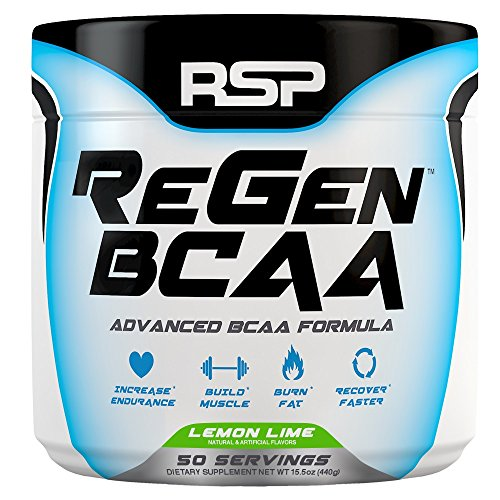 RSP Nutrition 50 Servings Regen BCAA Post Workout & Recovery Supplement, Lemon Lime, 15.5 Ounce