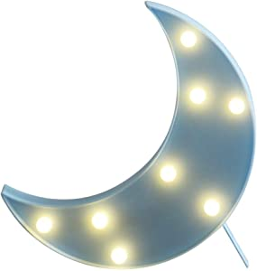 """CAKKA Marquee Moon Light, Decorative LED Half Moon Letter Sign with Lights - Removable Stand, Wall Hanging Hole, Battery Powered, Break Proof - for Nursery/Kids/Baby Home Decor, 9.65x7.09"""" (Blue)"""