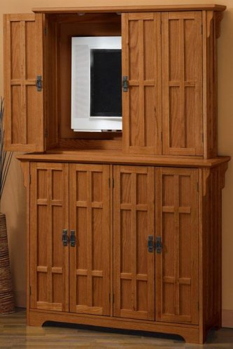 Charmant Flat Screen Tv Armoire 8 Door Dark Oak