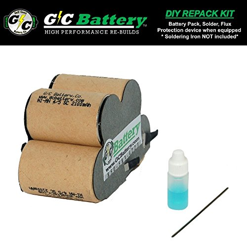 G/C Battery Co. Compatible UPGRADED 2.1Ah NiMH DIY Repack Kit for DREMEL Free Wheeler 6V 850