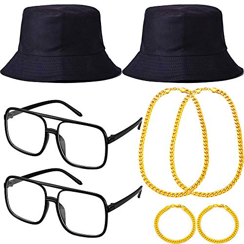 8 Pieces 80s/90s Hip Hop Costume Kit Cool Rapper Outfits,Bucket Hat Gold Party Chains,Bracelet and DJ Sunglasses 90s Costume Glasses for Birthday Favors,Sdult 80s Party and Rapper Theme decor -