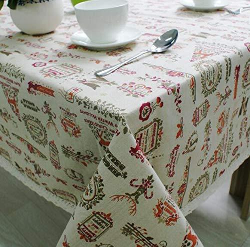 LYJZH Mantel de algodón de Lino Mantel de Mesa Tema de Navidad 140 * 220