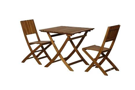 FloraSun® Muebles de Jardín Set Palmera, 2 sillas Plegables ...