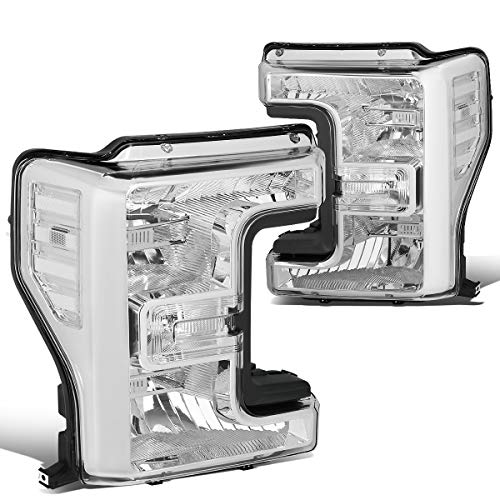 2018 Ford Pickup Truck Headlights - Pair Chrome Housing Front Bumper Headlight Lamps for Ford F250 F350 F450 F550 Super Duty 17-19
