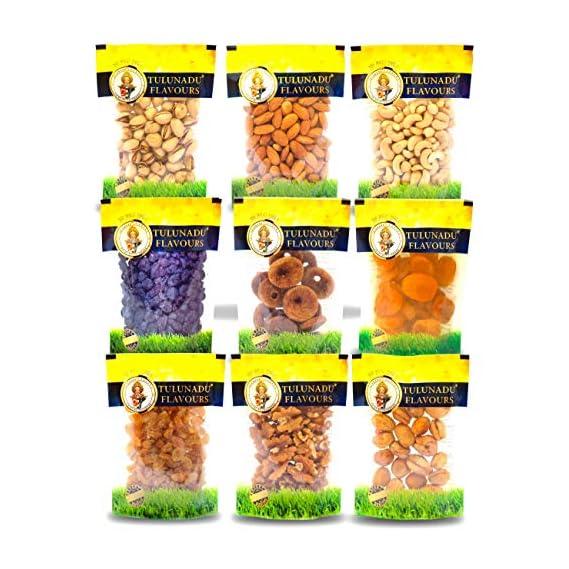 Tulunadu Flavours Dry Fruit Combo Pack with Cashew nut, Pistachios, Almonds, Anjeer, Black Raisins, Golden Raisins, Walnut, Turkish Apricot, Afghani Apricots