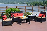 outdoor rattan chairs - Cloud Mountain 5PC Rattan Wicker Sofa Set Cushioned Sectional Outdoor Garden Love Seat Chair Glass Top Table, Black Rattan with Khaki Cushions