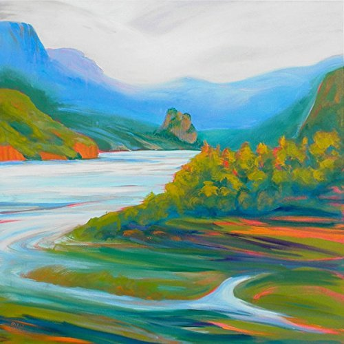 Rooster Rock of Beacon Rock 3 original acrylic painting ()