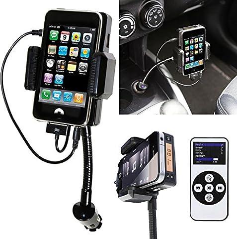 iMounTEK Universal iPhone Car Kit- FM Transmitter, Car Charger, Adjustable Stand, USB Port (Remote and Direct Charge iPhone 4, (Iphone 4s Car Transmitter)