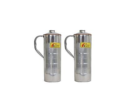 Frestol Copper/Steel Designer Water Bottles with Handle Serveware, Tableware having Capacity 750 ML- (Set of 2) Glassware & Drinkware at amazon