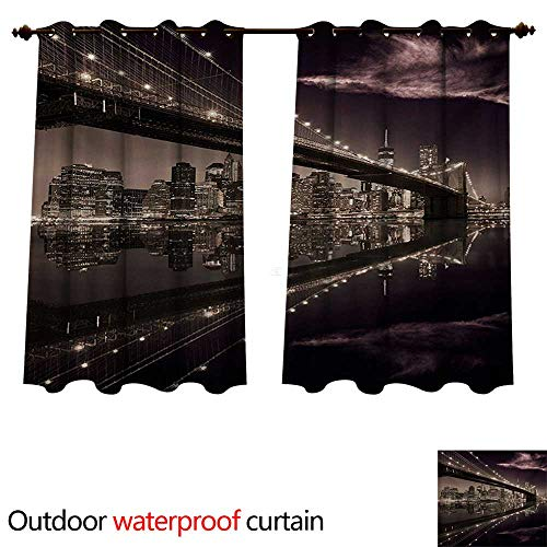 WilliamsDecor Landscape Outdoor Balcony Privacy Curtain Brooklyn Bridge Sunset NYC View Skyline Tourist Attraction Modern City W84 x L72(214cm x 183cm) (Balcony With Nyc Hotel)