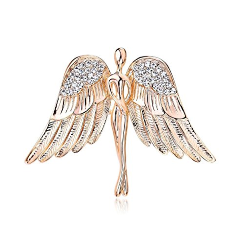 OUDUO Women's Crystal Flying Wings Guardian Angel Brooch Pin Lapel Pin Costume Jewelry Gold Tone