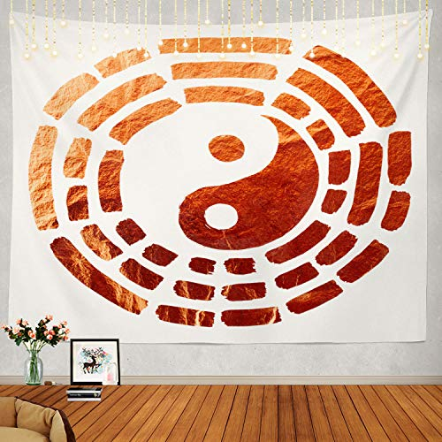 Shrahala Yin Yang Tapestry, Yin Yang of Copper The Additional Design for Wall Hanging Large Tapestry Psychedelic Tapestry Decorations Bedroom Living Room Dorm(51.2 x 59.1 Inches, Green)