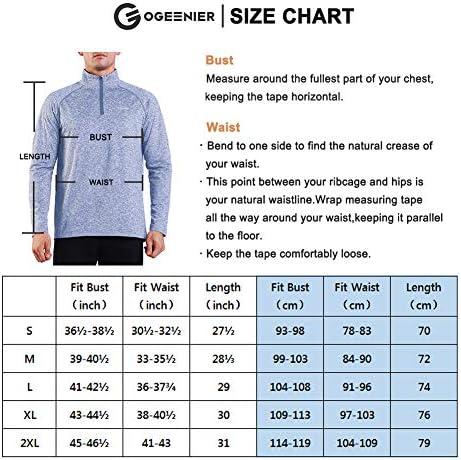 Ogeenier Herren Fleecepullover Fleece Laufshirt Langarm mit Stehkragen Atmungsaktive Funktionsshirt Sportshirt Fitness Shirt